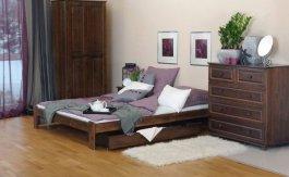 Postel Adam 140 x 200 cm ořech masiv borovice + matrace Relax