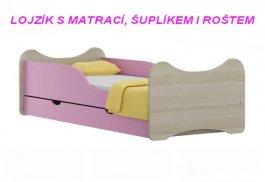 Postel Lojzík N21 180/90 cm + matrace + šuplík růžový
