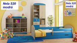Postel Nela N20S 180/90 cm + matrace + šuplík modrá