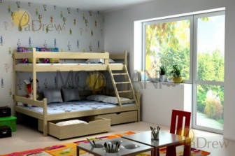 Patrová postel masiv Savana 190x80 cm + šuplíky + rošty