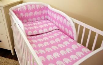 Luxusní sada do postýlky 3-dílná  model růžový slon